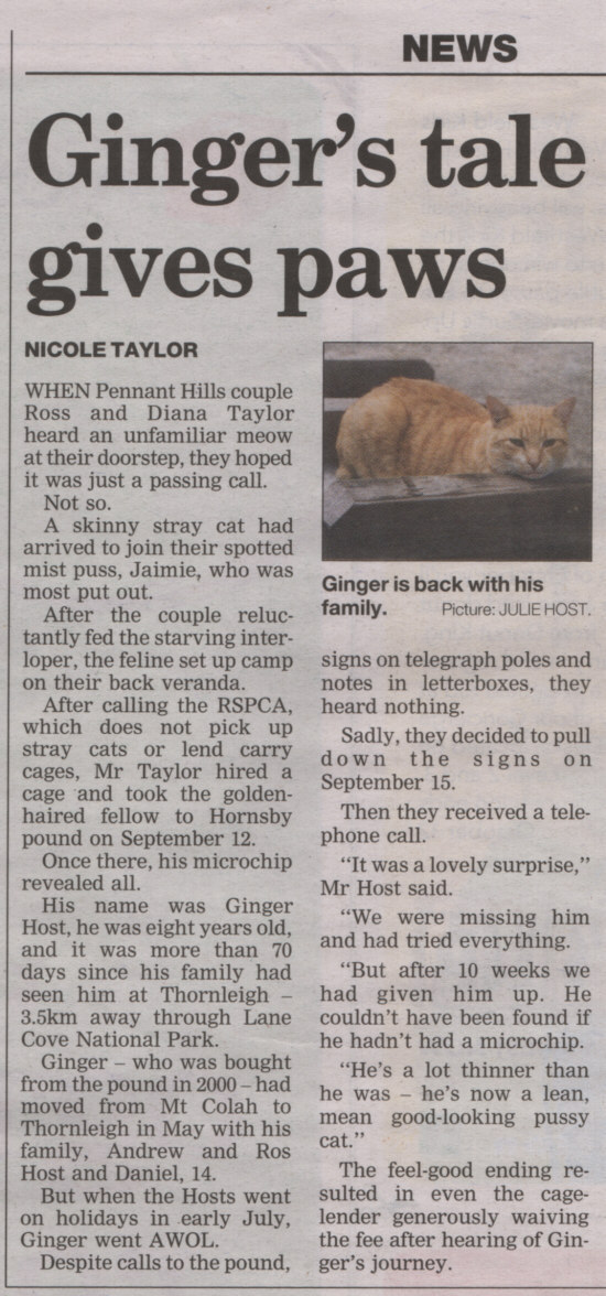 An article about Ginger in the Hornsby Advocate.